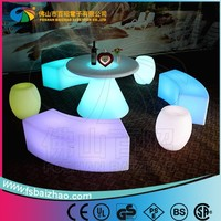 round top plastic table glowing LED table for restaurant and bar