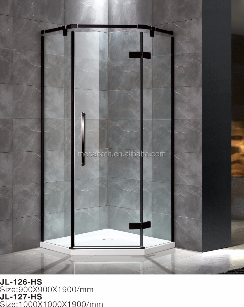 Corner neo angle glass shower enclosure with black frame