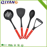 FDA certificate pass 6pcs nylon kitchen utensils with red plastic handle
