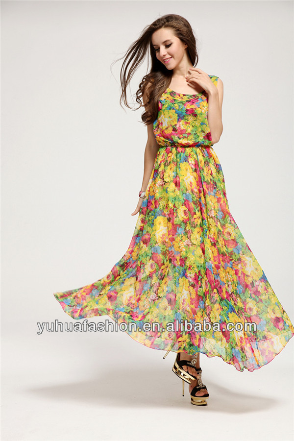 Floral chiffon vest dress put on a large waist skirt,hawaiian dresses for women