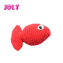 Small Red Pet Handmade Knit Wool Cat fish Scratcher toy