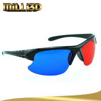 low price black frame plastic red blue 3d glasses