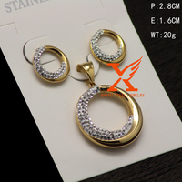In Stock Factory Wholesale 316I Stainless Steel Fashion Luxury Dubai Gold Jewelry Set for Wedding Jewelry