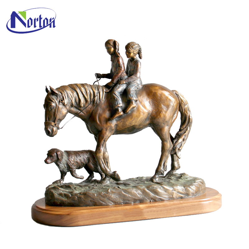 Hot sale large bronze horse sculpture with children statue NTBA-471Y