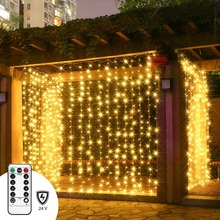LED Twinkle Star 300 Leds Window Curtain Lights with RF Remote Controller Full Waterproof Multiple String Strands Connectable