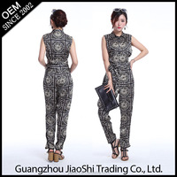 OEM Custom made ladies suit gray color casual style sleeveless women jumpsuit