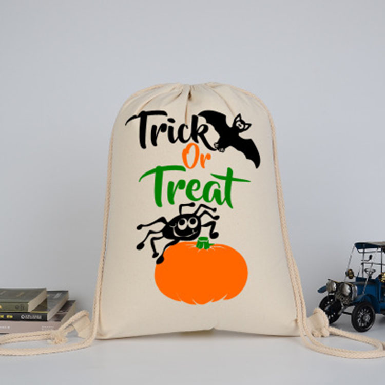 New Design Funny Trick Treat Print Halloween Canvas Sugar Drawstring Bag