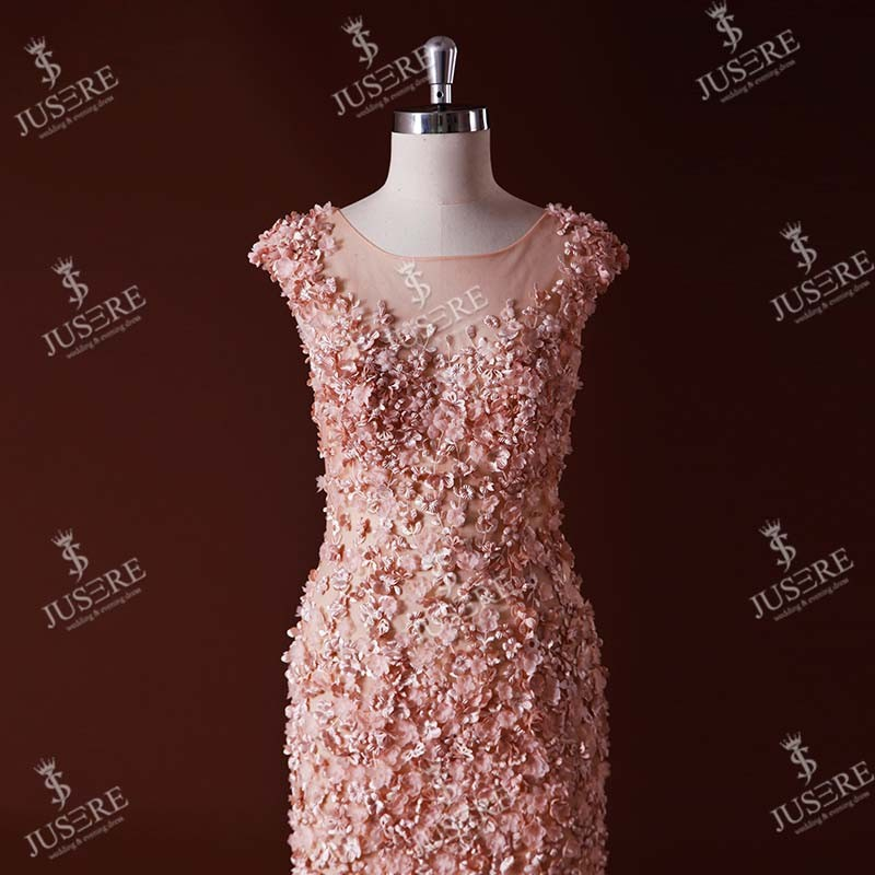 Coral Cap Sleeve Flowers Lace Appliqued Mermaid Evening Dresses Prices Sexu Back Open Evening Dress 2016
