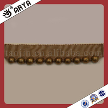 Braid Gimp Tassel with Gold Beads Trimming for Curtain,Sofa,Garment
