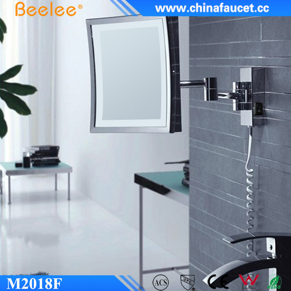 Square Chrome Brass Wall Mirror Smart Glossy Adjustable Shower Led Mirror