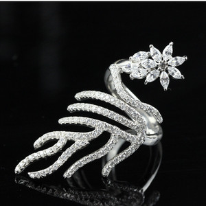 SJbeme-0121 Unique Design Trendy Jewelry 925 Sterling Silver Cubic Zirconia Peacock And Flower Shape Finger Ring For Girls