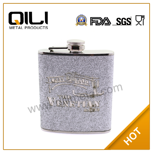 France 7oz heat transferred logo flagon Personalized Hip Flask
