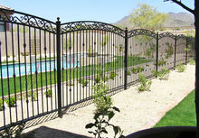 Black painting finish wrought iron fence for garden