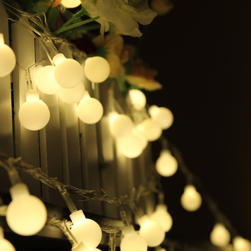 10M 100 LED Globe String Lights Warm White Ball Fairy Light for Party Christmas Wedding New Year Indoor&outdoor Decoration