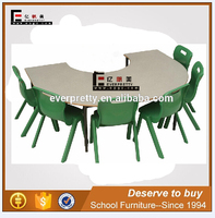 wooden top children table and chairs, preschool study or dining furniture