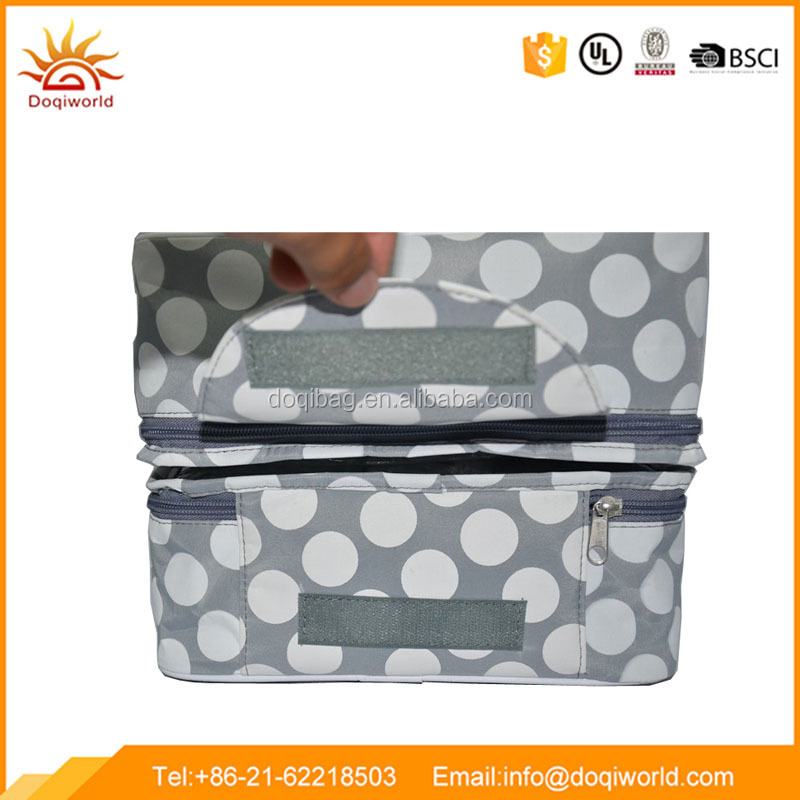 Dot large capacity 2 section cosmetic makeup bag with compartments
