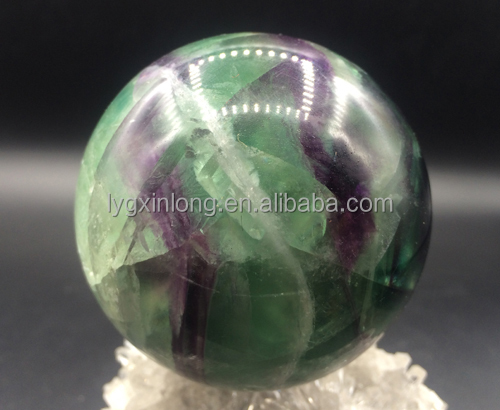 Wholesale natural Rainbow Fluorite quartz crystal Ball spheres Purple Green Fluorite gemstone Ornament for Decoration