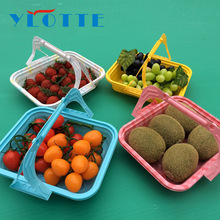 Seasonal Summer Take Away Food Fruit Salad Vegetable Lunch Blister Plastic Tray/Basket/Container with Handle