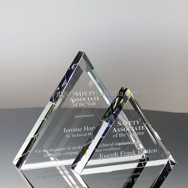 Wholesale custom triangle shape blank crystal glass plaque award trophy for souvenir gift