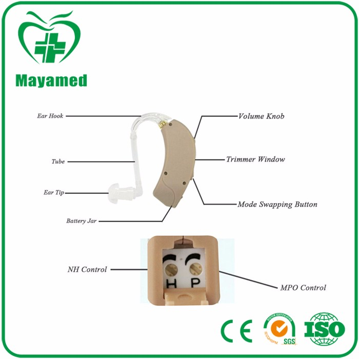 High Quality Digital Sound Amplifier mini Audiphone portable Hearing Aid pocket earphone with CE & FDA Approval