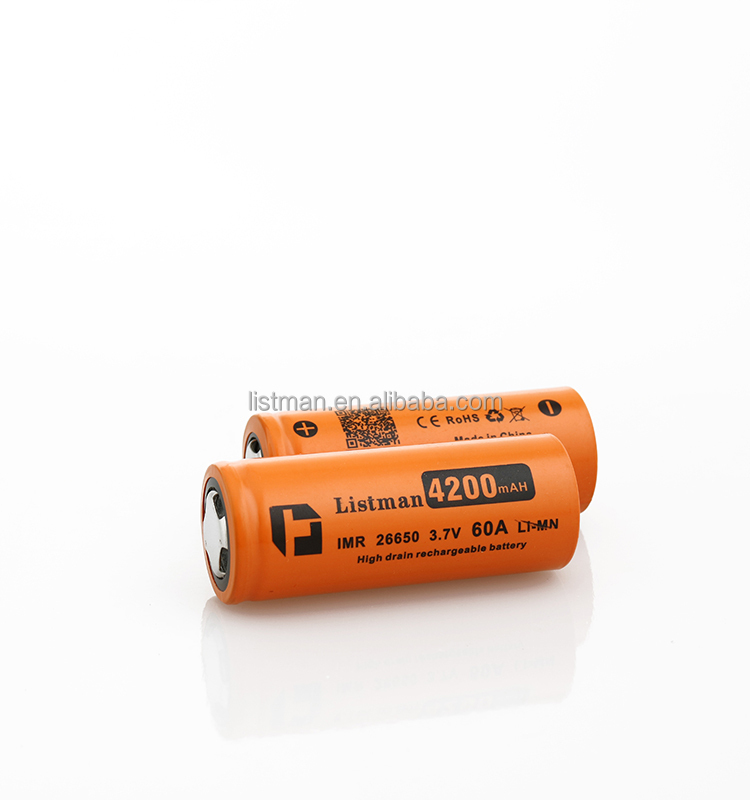 Listman 26650 battery IMR 26650 60Amp high discharge rate cell rechargeable battery 4200mAh 3.7V li-mn battery with flat top