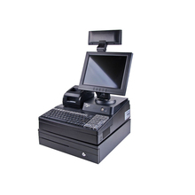 12.1 inch LED screen all in one pos system keyboard pc windows system cheap pos machine terminal zunke cash register for sale