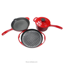 3 pcs enamel cast iron cookware set