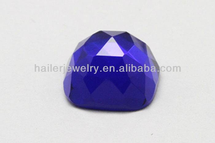 Faceted Cut Flat Gemstone Dark Blue Glass Gemstone