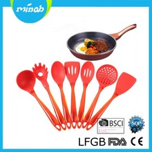 High quality kitchen utensils set 7 pieces RED silicone kitchen cooking tools utensil set