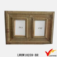 Hand carved original wood color distressed wood photo frame