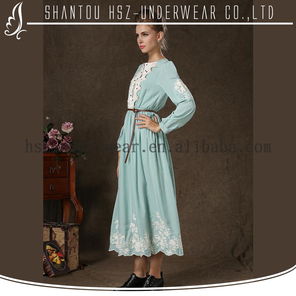 Md1701 Einfache Vintage Stil Plus Size Kleidung Elegant Islamische Kleidung Muslim Abaya