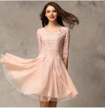 Women Clothing Latest Fashion 1/2 Sleeve Hand Embroidery Dresses