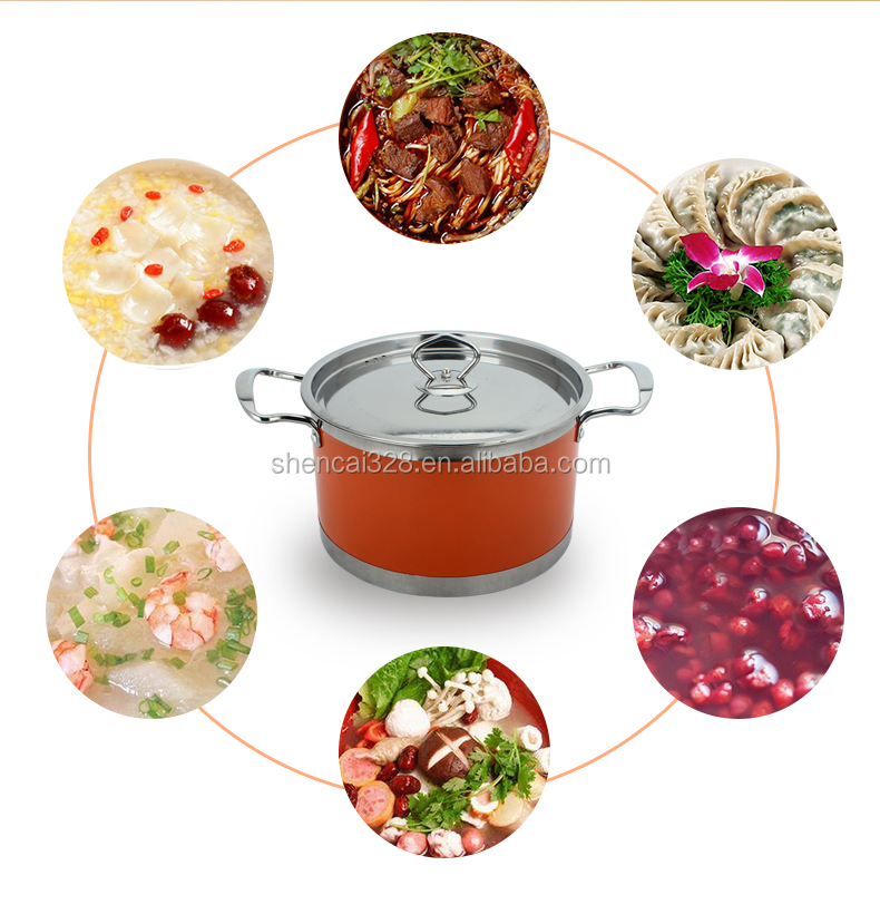 Hot sale Colorful 5pcs Stainless steel stock pot / cooking pot /Hot pot