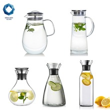 wholesale high borosilicate handmade craft water pitcher glass carafe