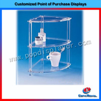 High quality 2-layers acrylic counter storage bathroom shampoo rack