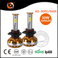 Super bright factory A2 9005 9006 30W 3200lm IP68 COB non-polarity high canbus IP68 led headlight for cars