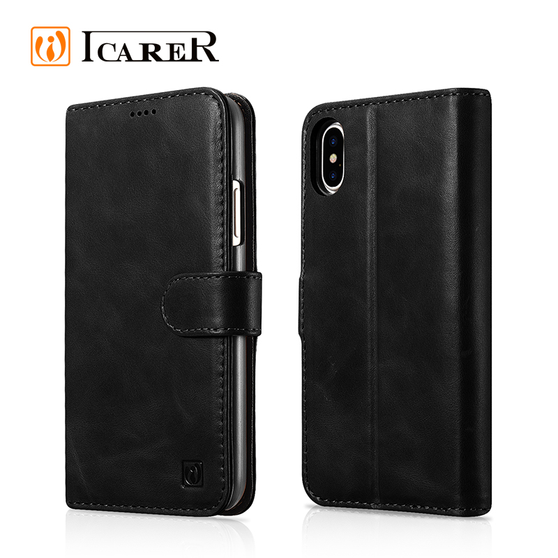 ICARER New Product Genuine Leather Detachable 2 in 1 Wallet Folio Case for iphone 8 Flip Cover