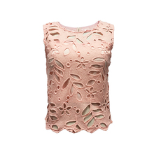 Fashion Collection 100% Cotton Women Ladies Latest Design Elegant Round Neck Sleeveless Back Zipper Pink Color Lace Top