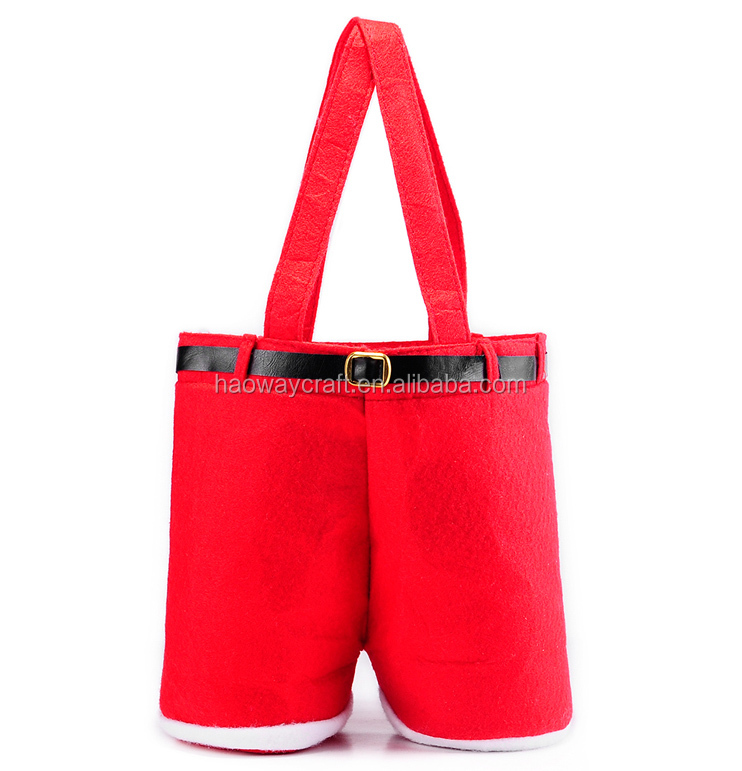 pants red wine bottle cover for christmas candy bag double trousers felt gift santa claus