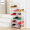 Easy standing 6 tier metal folding stackable plastic shoe rack