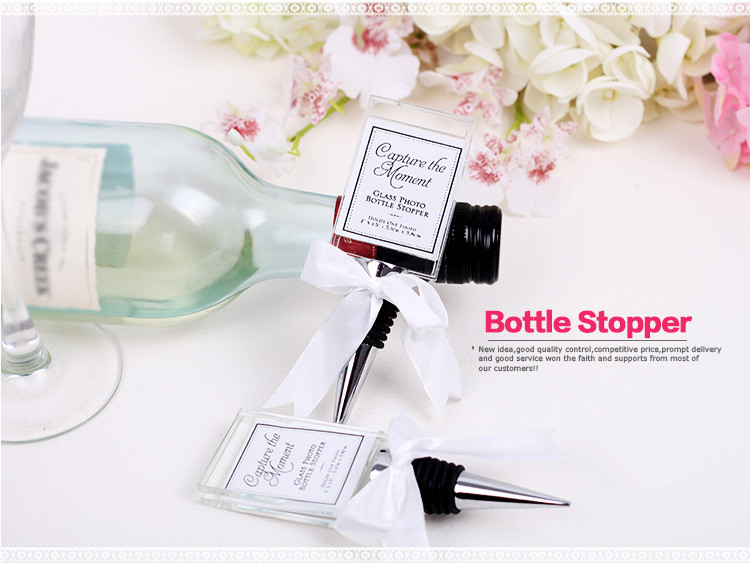 Capture the Moment Glass Photo Holder Bottle Stopper weding favours
