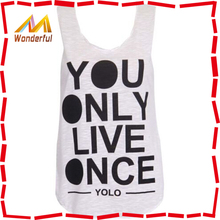 Fashion Ladies Girls You Only Live Once Yolo Printed Vest Tank Top Summer Vest T Shirt