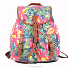 Floral Elephant Print Canvas Fashion Backpack, School Backpack