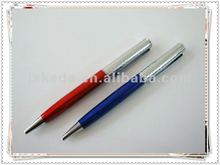 transparent barrel metal ballpoint pen in red and blue color