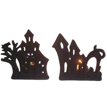 House Shaped Tealight Candle Holder For Halloween Decorative Ceramic