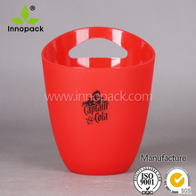 PS Material Red and Clear Plastic Ice Bucket/Wine Cooler/Beer Cooler