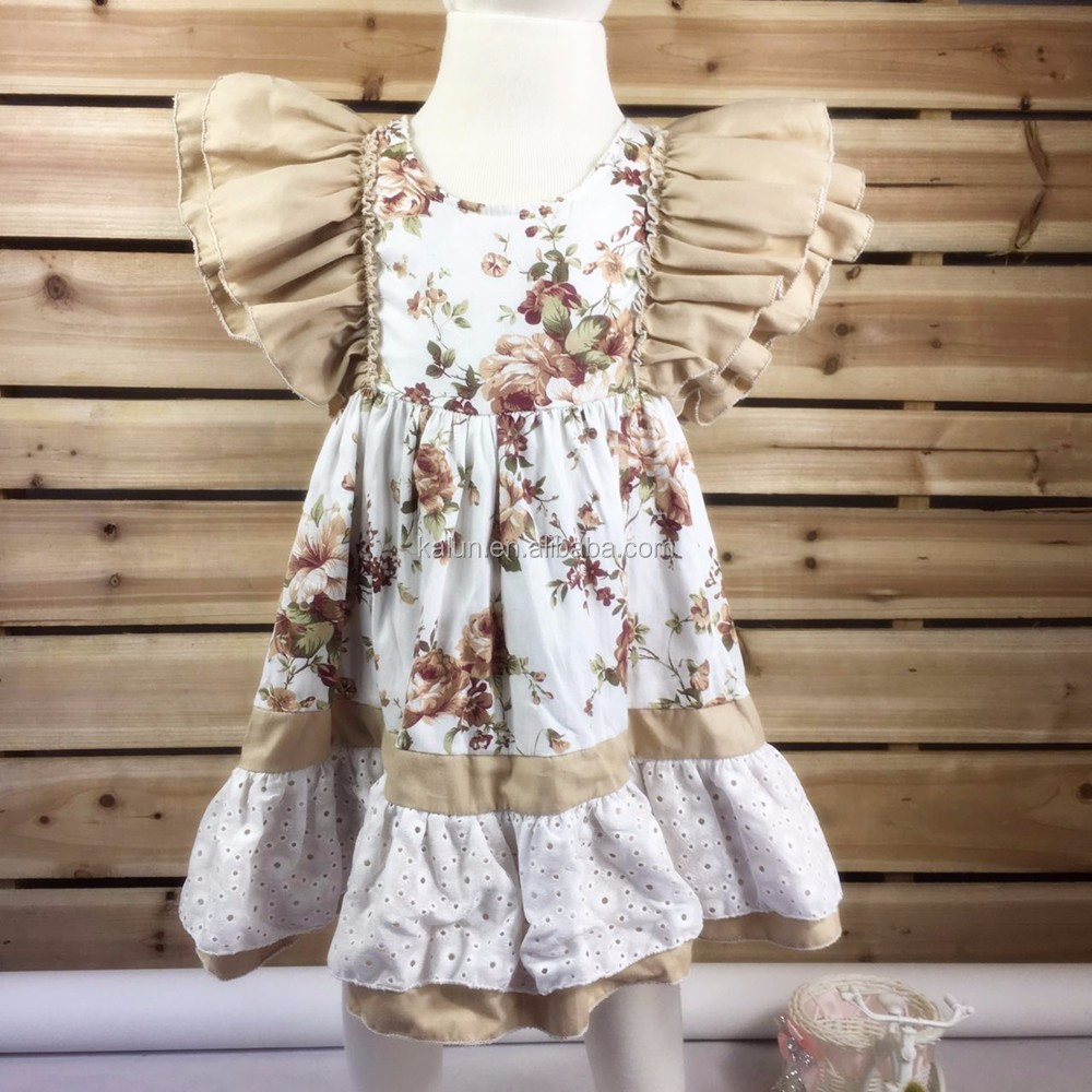 kL-DS-086 Adorable Summer Baby Girls Cotton Frock Dress Boutique Kids floral Pattern Pearl Ruffled Dresses