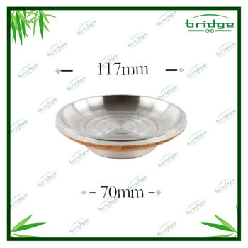 Bamboo soap dish with stainless steel