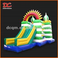 Attractive Large Colorful Sun Festival Inflatable Castle Slide