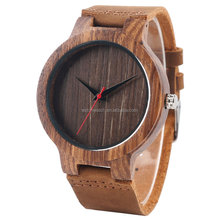 New Product 2018 ! Leather Strap Japan Quartz Movement Mens Bamboo Wooden Watch